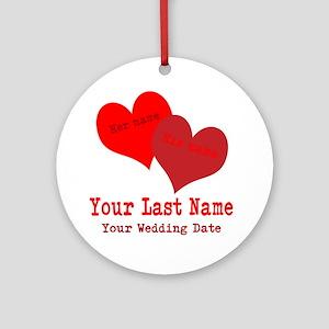 Wedding Hearts Round Ornament