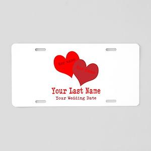 Wedding Hearts Aluminum License Plate