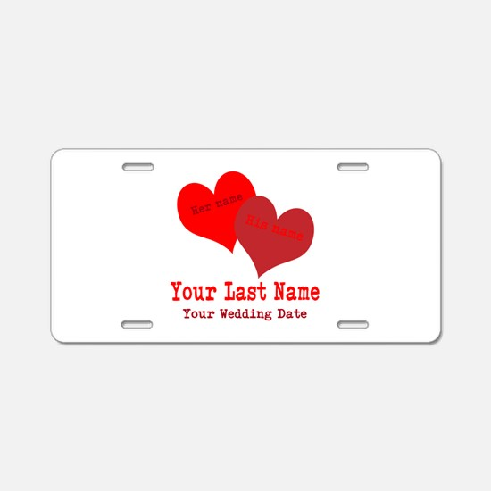 Wedding Hearts Aluminum License Plate