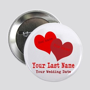 """Wedding Hearts 2.25"""" Button"""