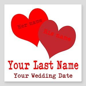 "Wedding Hearts Square Car Magnet 3"" x 3"""