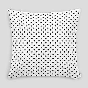 White and Black Polka Everyday Pillow