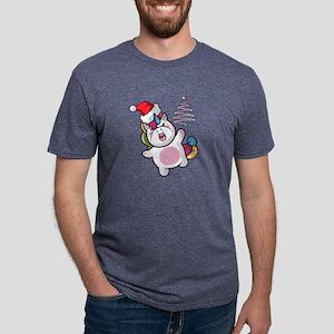 Unicorn Christmas Mens Tri-blend T-Shirt