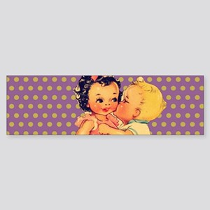 purple polka dots retro kids Bumper Sticker