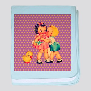 purple polka dots retro kids baby blanket