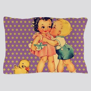 purple polka dots retro kids Pillow Case