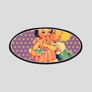 purple polka dots retro kids Patch