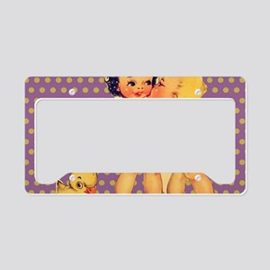 purple polka dots retro kids License Plate Holder