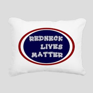 Redneck White and Blue Rectangular Canvas Pillow
