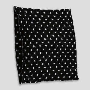 Black and White Polka Burlap Throw Pillow