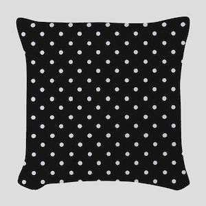 Black and White Polka Woven Throw Pillow