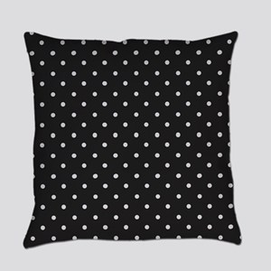 Black and White Polka Everyday Pillow