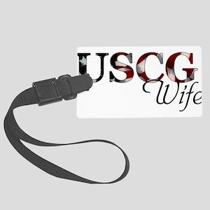Wife USCG_flag  Large Luggage Tag