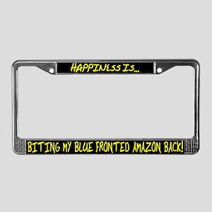 HI Biting Blue Fronted Amazon License Plate Frame