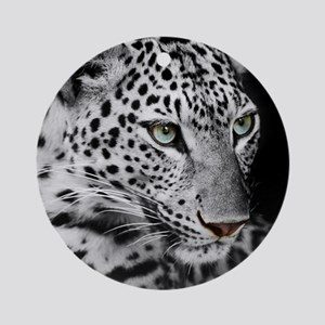 White Leopard Round Ornament