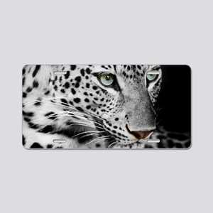 White Leopard Aluminum License Plate