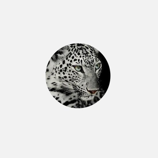 White Leopard Mini Button