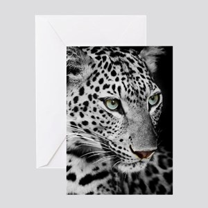 White Leopard Greeting Cards