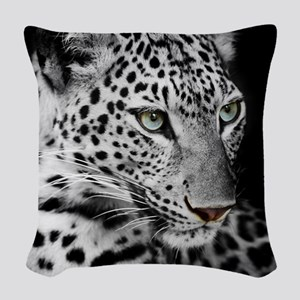 White Leopard Woven Throw Pillow