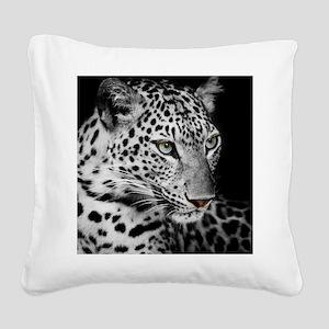 White Leopard Square Canvas Pillow