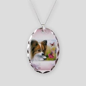 Dog 123 Papillon Necklace Oval Charm