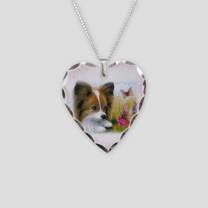 Dog 123 Papillon Necklace Heart Charm