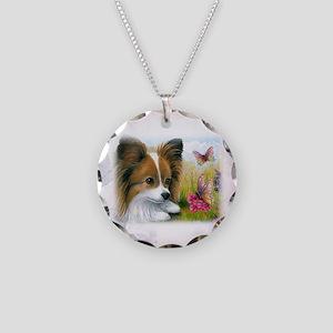 Dog 123 Papillon Necklace Circle Charm