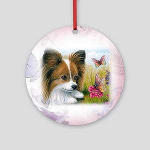 Dog 123 Papillon Round Ornament