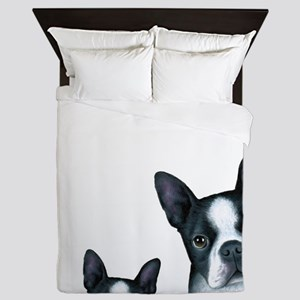 Dog 128 Boston Terrier Queen Duvet
