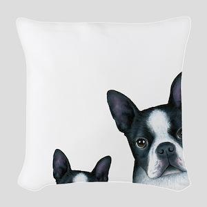 Dog 128 Boston Terrier Woven Throw Pillow