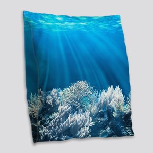 Tropical Reef Burlap Throw Pillow