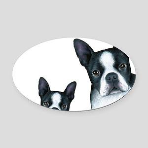 Dog 128 Boston Terrier Oval Car Magnet