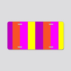 Yellow Candy Stripes Andrea Aluminum License Plate