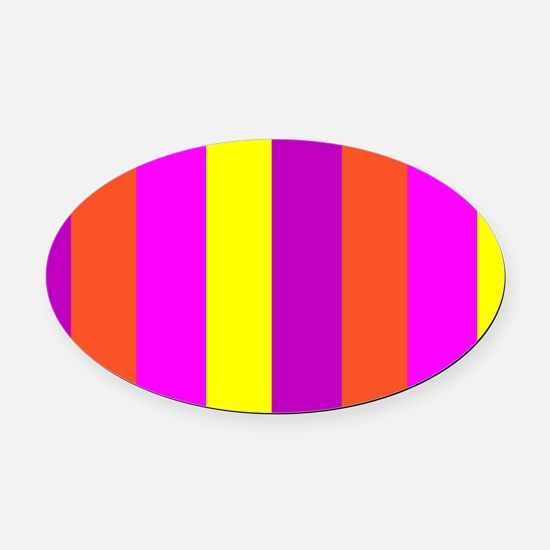 Yellow Candy Stripes Andrea's Fave Oval Car Magnet