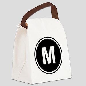 Letter M Monogram Canvas Lunch Bag
