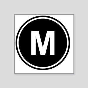 "Letter M Monogram Square Sticker 3"" x 3"""