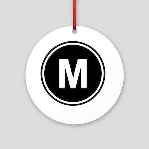 Letter M Monogram Round Ornament