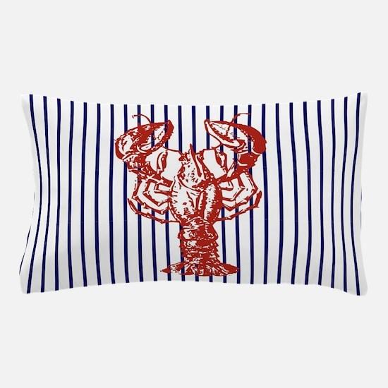 blue nautical stripes vintage lobster Pillow Case