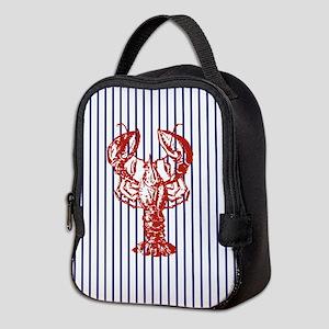 blue nautical stripes vintage l Neoprene Lunch Bag