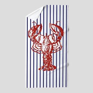 blue nautical stripes vintage lobster Beach Towel