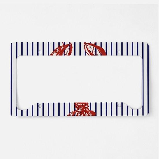 blue nautical stripes vintage License Plate Holder