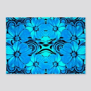 Blue Flower Pattern 5'x7'Area Rug