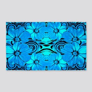 Blue Flower Pattern Area Rug