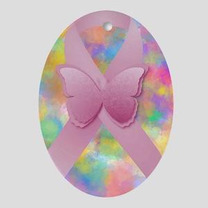 Pink Awareness Ribbon Oval Ornament