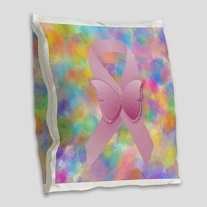 Pink Awareness Ribbon Burlap Throw Pillow
