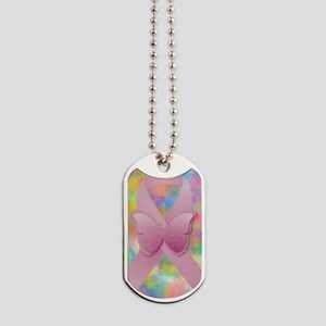 Pink Awareness Ribbon Dog Tags