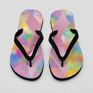 Pink Awareness Ribbon Flip Flops