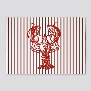 nautical red white stripes lobster 5'x7'Area Rug