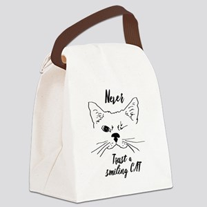 Never trust a Smiling Cat Quote A Canvas Lunch Bag