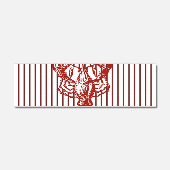 nautical red white stripes lobst Car Magnet 10 x 3